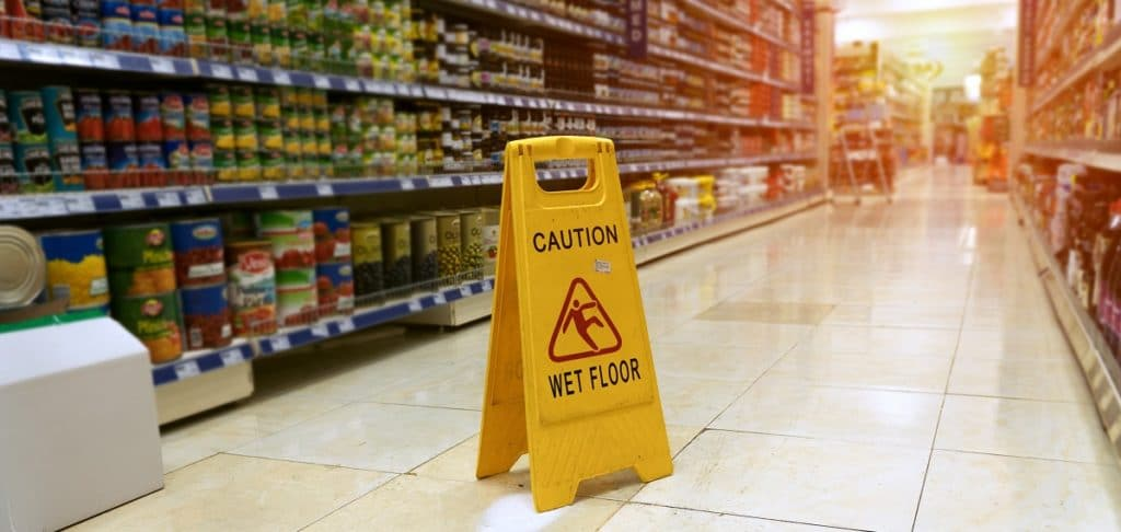 wet floor sign - slip and fall injuries